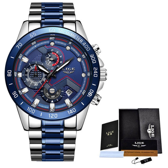 LIGE Men Watches Top Brand Luxury Stainless Steel Blue Waterproof Quartz Watch