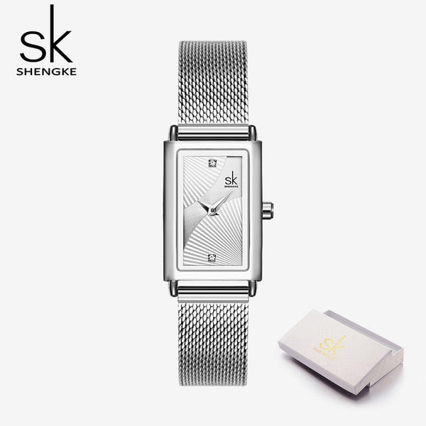 Shengke New Top Brand Luxury Women Watch Rectangle Dial Elegant Quartz