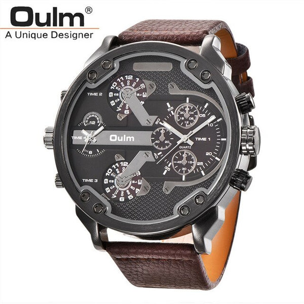Oulm Big Watches for Men Multiple Time Zone Sport Quartz