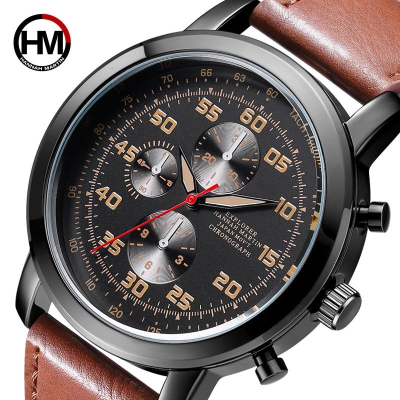 HM Top Brand Casual Men Watch Sports Simple New Men's Wish Watch Business Leather Strap stylish