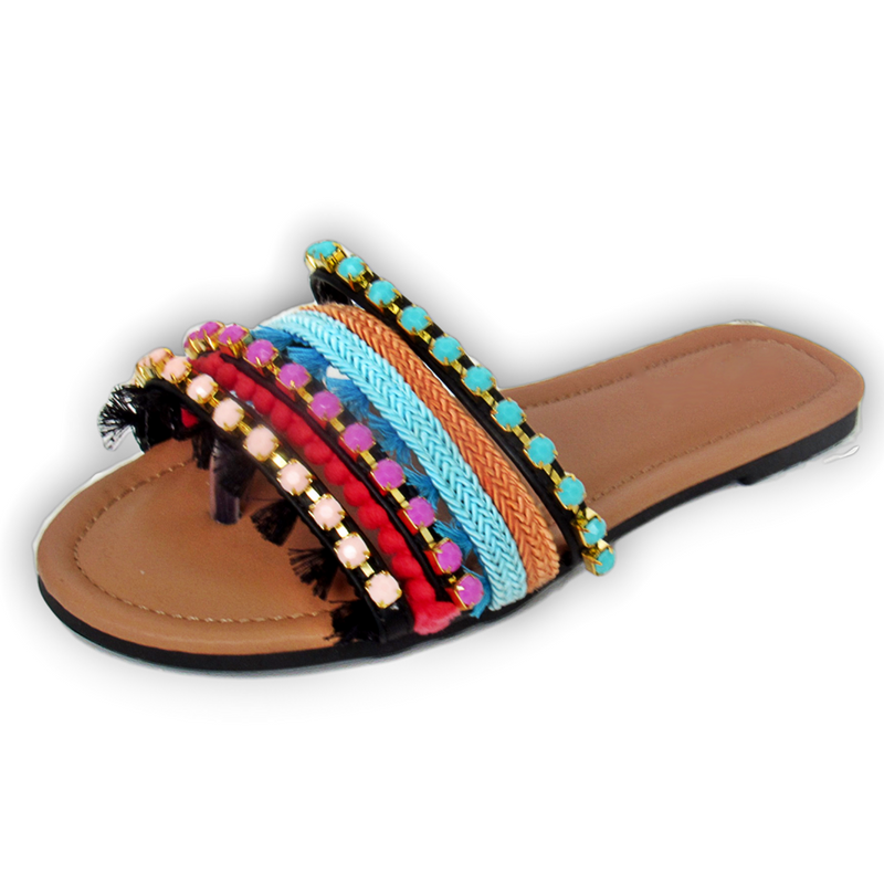 summer sandals, slip-on sandals, rhinestone embellished sandals, rhinestone sandals, embellished sandals, multicolor embellished sandals, spring sandals, multi strap sandals, braided strap sandals