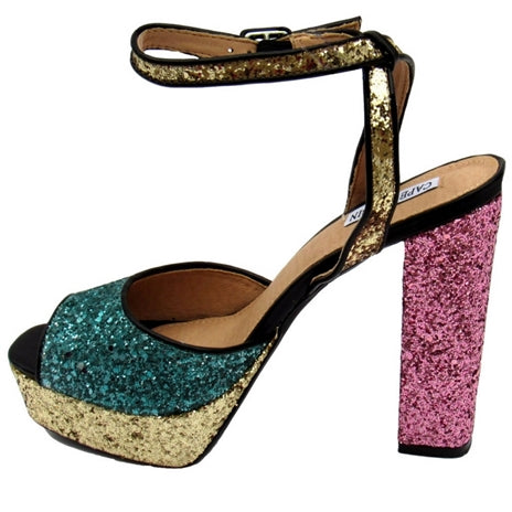 Women's platform sandals, multi-color glitter, pink glitter heels, gold glitter sandals, gold glitter platform heels, green glitter platform heels, adjustable ankle strap, multi-color glitter platform, unique women platform heels, unique women platform sandals, multi-glitter sandals, unique women sandals, women's glitter platform heels, multi-color platforms.