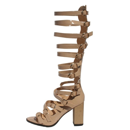 Open toe Sandal, Adjustable sandal, multiple strap Open back sandal, gladiator sandal, Wooden heel, nude gladiator shoe, nude gladiator sandal, patent leather gladiator shoe, patent leather gladiator sandal, cream sandal, shoe boutique, shuesq, unique shoe
