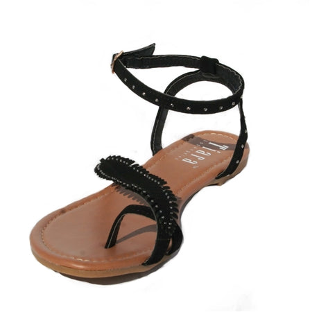 Black, Flat sandals, Ankle strap with an adjustable strap, Beaded leaf design, Beaded jewels, black sandals, toe wrap sandal, black toe wrap sandal, shoe boutique, designer shoes, shuesq, unique shoes