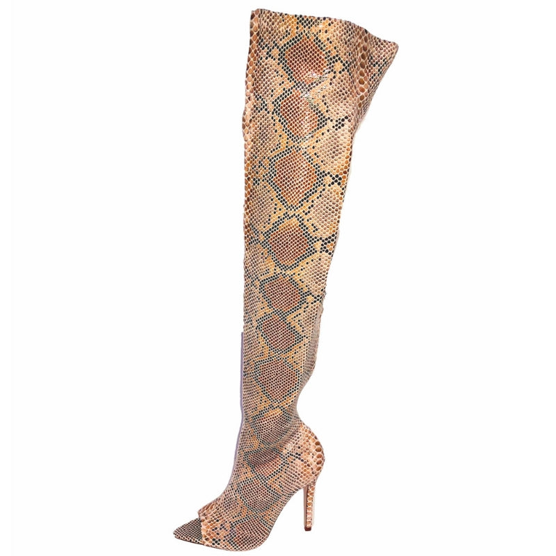 Zip up python boot, zip up snakeskin boot, zip up boot, over the knee boot, open toe boot, 4 inch heel, 4.5 inch heel, thigh high boot, stretch boot, zip up boot, shoe boutique, designer shoes, shuesq, unique shoes,  unique boots, azalea wang, shopakir