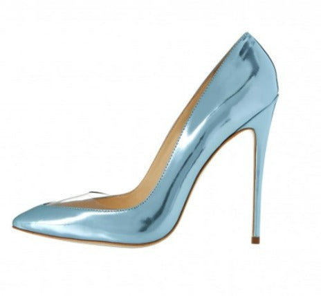 4 inch heel, plexi heel, metallic light blue heel,  clear toe, pointed toe heel, kandee shoe, kandee pump, kandee heel, angela simmons shoe, shoe boutique, designer shoes, independent designer, independent shoe designer, shuesq, unique shoes, angela simmons, ursula, plexi pump, plexi
