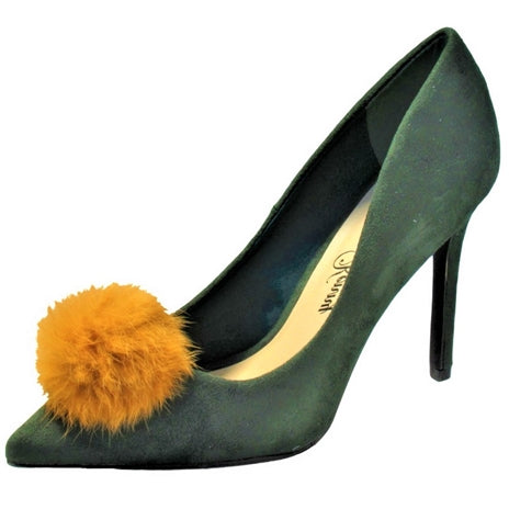 green  pump, green heel, green and yellow pump, green and yellow heel, green and yellow stiletto, medium Width, yellow pom pom, Pointed Toe, 4 inch Heel, 4 inch pump, 4 inch stiletto, pom pom shoe, penny loves kenny, shoe boutique, designer shoes, independent designer, independent shoe designer, shuesq, unique shoes