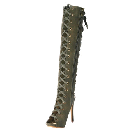Lace up, open toe, Thigh high boots, adjustable boot, olive green boot, green thigh high boot, winter boot, open toe boot, lace up boot, shoe boutique, shuesq, dark red boot, wide leg boot, wide leg green boot, boots, fashionable boots
