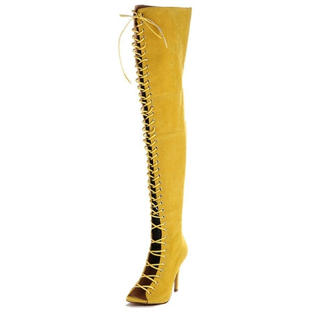 Lace up boot, over the knee boot, open toe boot, 3 inch heel, thigh high boot, zip up boot, lace up boot, yellow boot, shoe boutique, designer shoes, shuesq, unique shoes