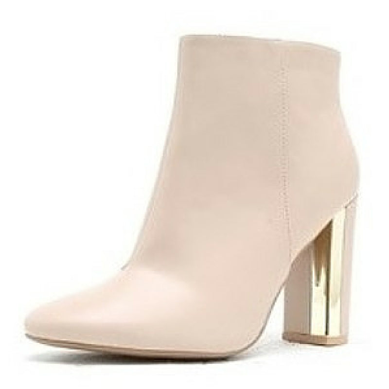 ankle boot, ankle bootie, cream bootie, cream boot, gold heel bootie, gold heel bootie, nude boot, nude bootie, block heel bootie, bootie, boot, shoe boutique, shuesq, unique shoes, qupid shoes, qupid boots