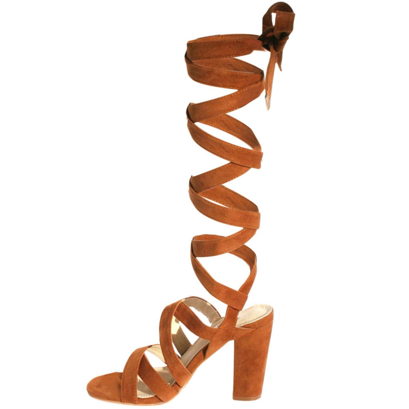 caramel sandal, nude sandal, brown sandal, Open-toe sandal, Lace-up, Thick heel, Block heel, 4 inch heel, shoe boutique, designer shoes, shuesq, unique shoes, wrap up sandal, wrap up heel