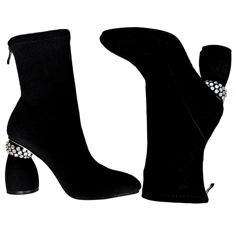 round toe boot, 4 inch heel, thick heel, boot, black boot, black bootie, bootie, shoe boutique, designer shoes, independent designer, independent shoe designer, shuesq, unique shoes, azalea wang, shopakira, rhinestone heel, rhinestone bo
