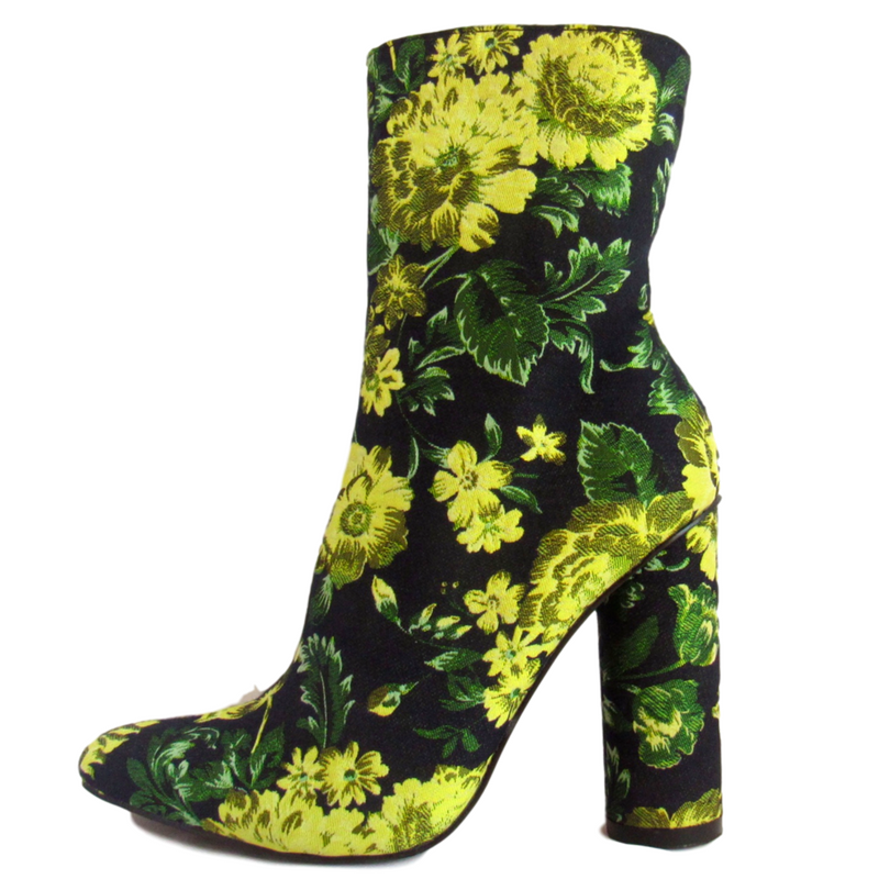 midi boot, midi bootie, green bootie, yellow bootie, green boot, yellow bootie, block heel bootie, block heel boot, bootie, boot, shoe boutique, shuesq, unique shoes, cape robbin, designer boutique boots, boutique boots, shoe boutique, designer shoes, flower boot, flower bootie