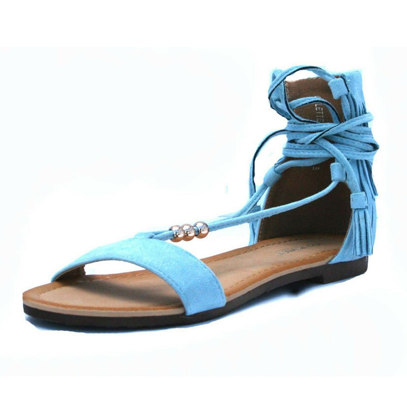 Flat Sandal, Powder Blue sandal, Lace Up sandal, light blue sandal, fringe sandal, festival sandal, summer sandal, shoe boutique, shuesq, unique shoes, baby blue sandal, blue sandal, strap up sandal