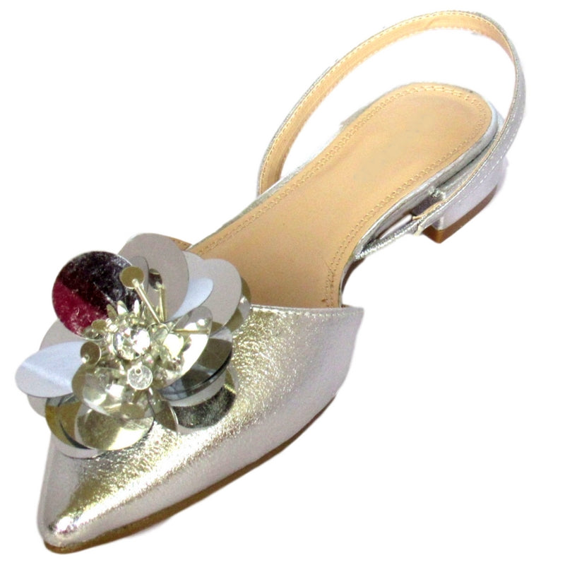 silver pointed-toe flat, metallic silver flat, silver flower flats, platinum flats, low-heel flats, sling-back flats, glamorous flats, unique women's silver flats, unique metallic flats, unique flower embellishment flats, unique flower flats