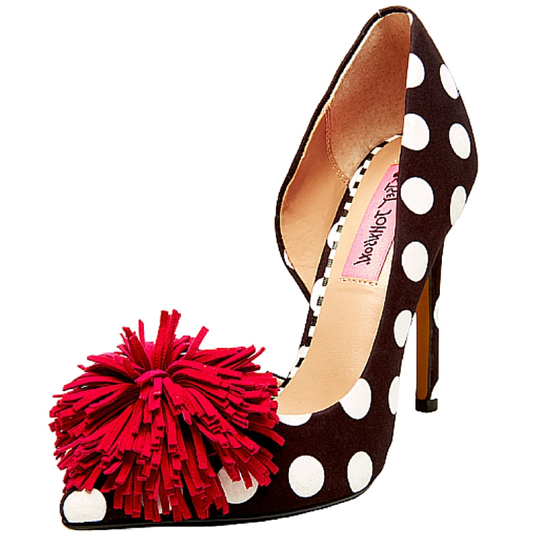 polka dot pump, 4 inch stiletto heel, red pom-pom, betsey johnson, shuesq, shoe boutique, designer shoes, independent designer, independent shoe designer, unique shoes, women's shoes