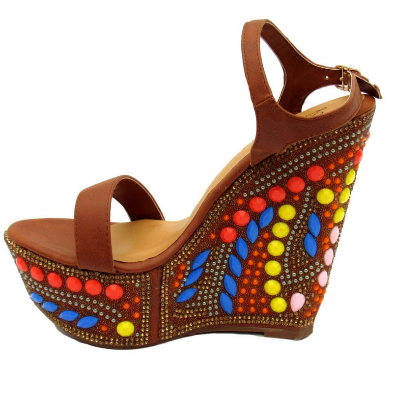Indian inspired wedge, camel wedge, brown wedge, pink embellishment sandals pink jewels sandals, blue embellishment sandals, blue jewels wedges, yellow jewels sandals, yellow embellishment, multi-color rhinestone wedges, women wedges, unique women wedges, unique women sandals, multi color wedges, orange embellished wedges, orange jewels, women's bejeweled shoes, bejeweled shoes.