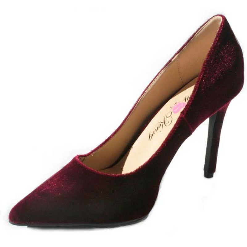 Wine pump, wine shoe, wine heel, medium Width shoe, Velvet heel, velvet pump velvet shoe, Pointed Toe, 4 inch heel, 4 inch stilleto, 4 inch pump, penny loves kenny, shoe boutique, designer shoes, independent shoe designer, shuesq, unique shoes