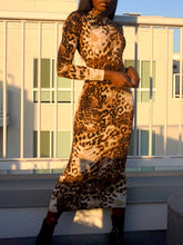 Load image into Gallery viewer, Leila Bodycon Dress Cheetah