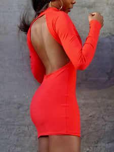 Gia Open Back Dress Cherry