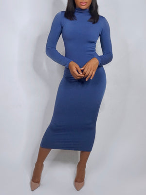 Open image in slideshow, Leila Bodycon Dress Slate Blue