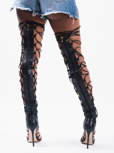 KBK Scarlett Thigh High Lace Up Heel