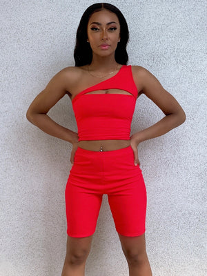 Iris One Shoulder Top Cherry