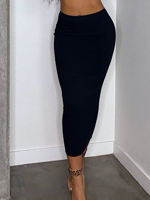 Aurora Fitted Maxi Skirt Black
