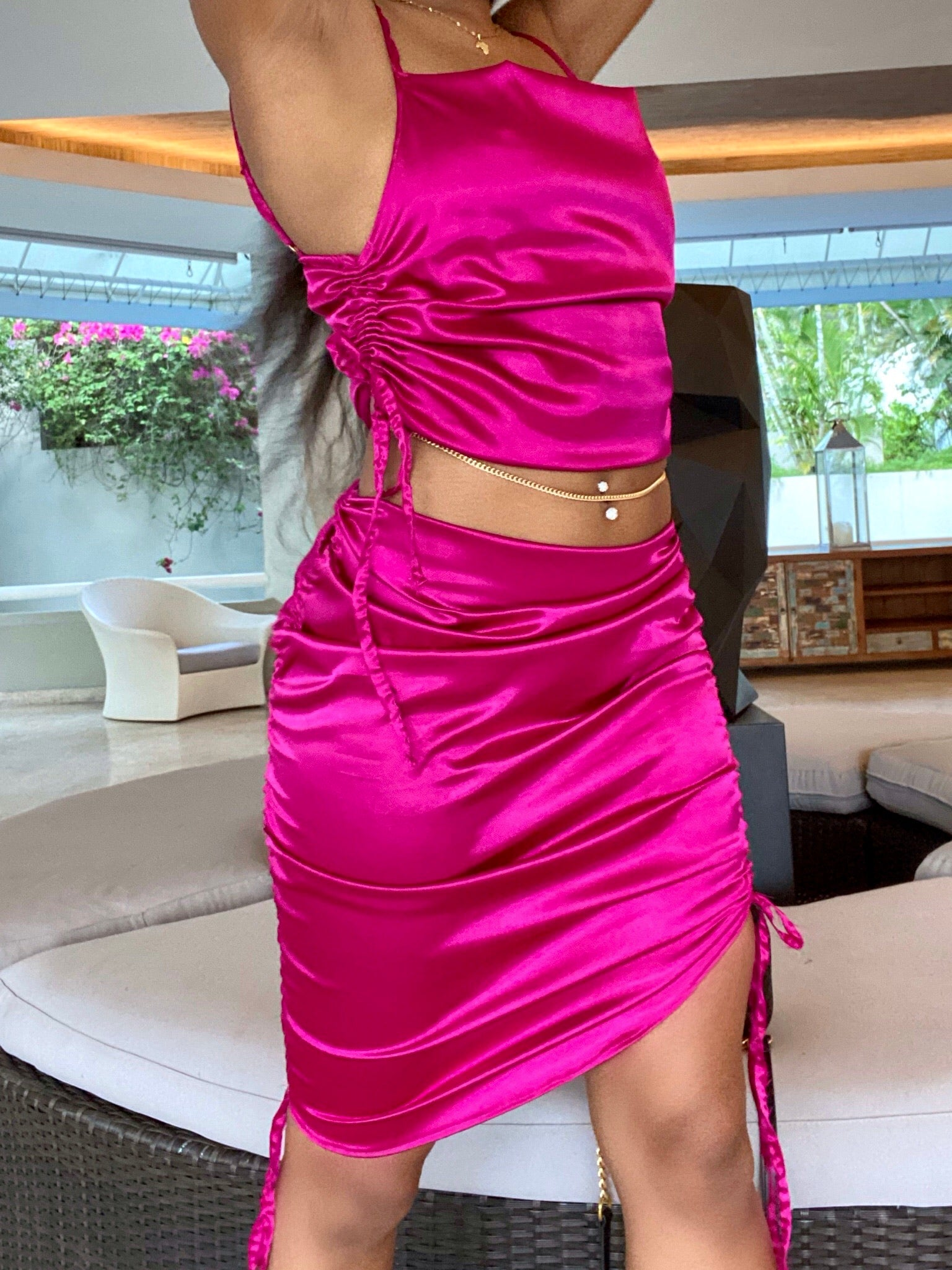 Jewel Satin Skirt Pink Orchid