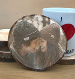 wood slice photo coaster