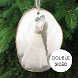 Double sided wood slice christmas tree decoration