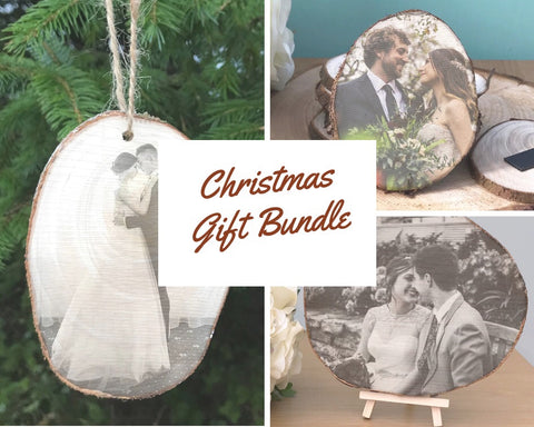 christmas gift bundle - wood slice plaque, wood slice magnet and wood slice christmas tree decoration