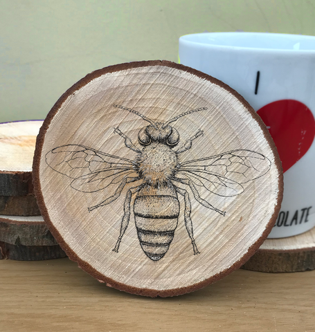 Wood Slice Bee Coaster