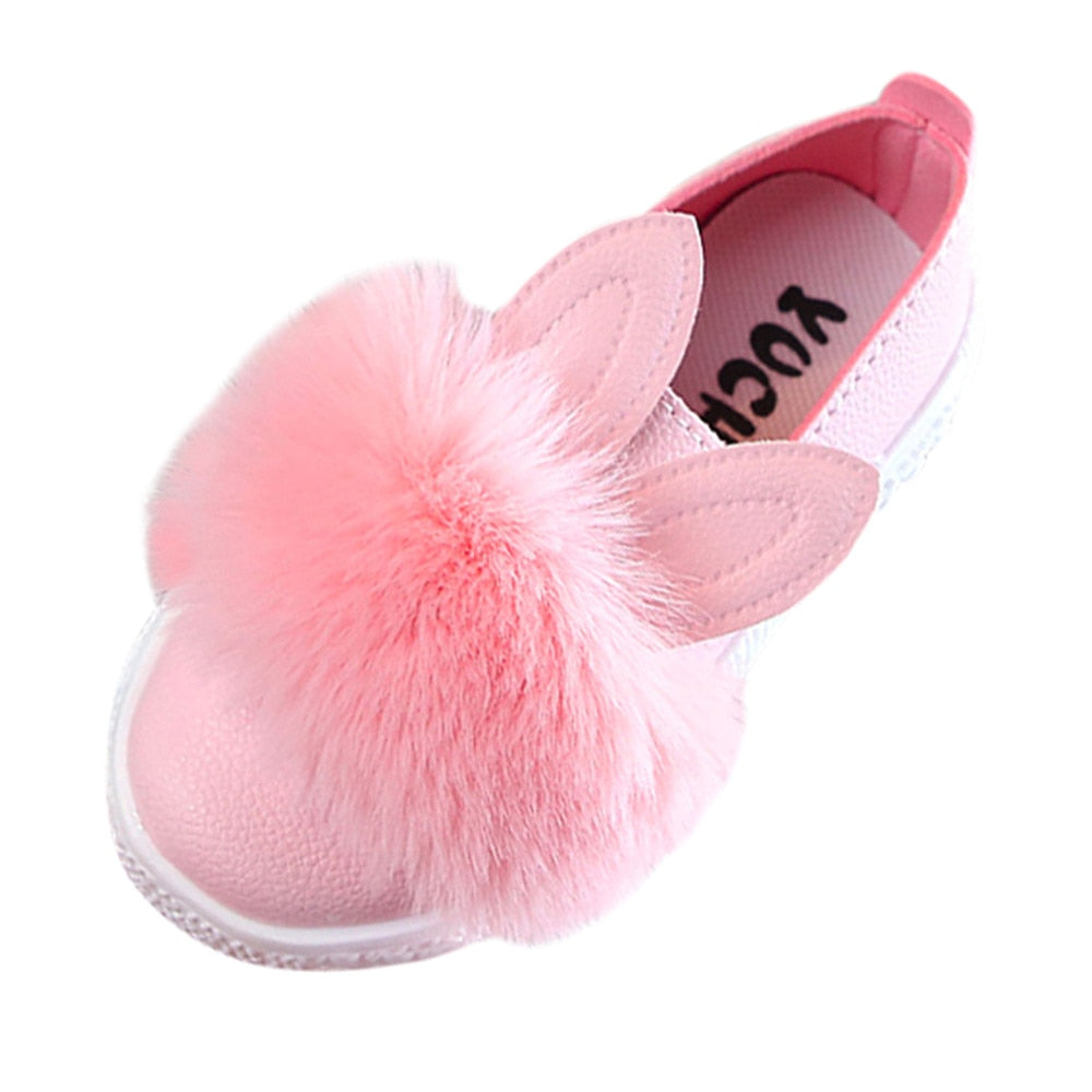 Leather Girls Shoes Antislip Bunny Pompom