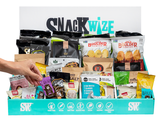 Based on providing 2 snacks per employee per month, we suggest 1 x Small Snacker Box & 1 x Office Grazers Box - 250 Snacks Delivered Monthly