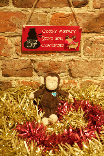 Plush Monkey and Countdown to Christmas Plaque