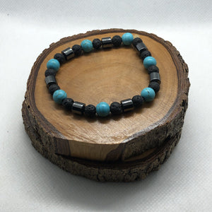 Mantsa Design - Lava Bracelet- Turquoise with Hematite Mantsa Design Bracelet Mantsa Wellness