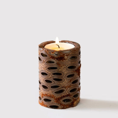 Australian Banksia Short Pillar Candle Australian Banksia Tea Light Mantsa Wellness