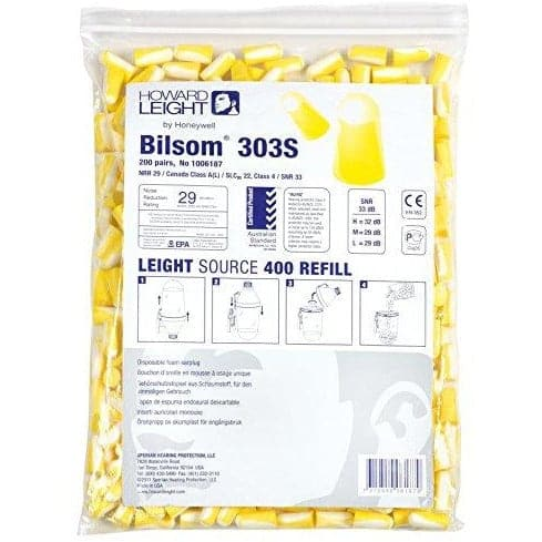 10x Pack - Howard Leight 300 Series 303S Small Ear Plugs (200 Pairs Uncorded)