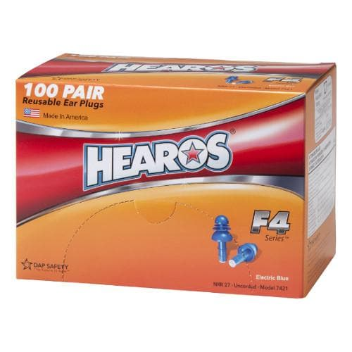 Hearos F4 Series Reusable Ear Plugs (NRR 27) (Box of 100 Pairs - Corded)