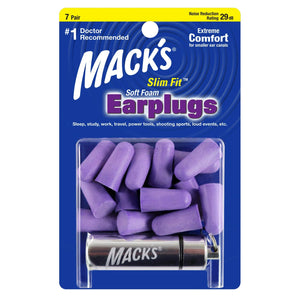 Macks Slim Fit Smaller Soft Foam Ear Plugs (NRR 29 | 7 Pairs w/ Carry Case)