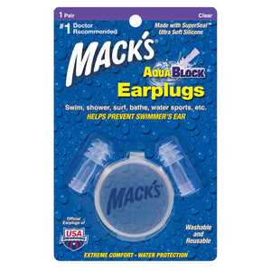 Macks AquaBlock Reusable Swimming Ear Plugs (1 Pair)