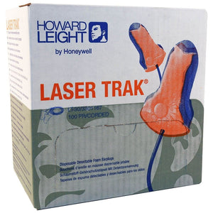 10x Box - Howard Leight Detectable Laser Trak Ear Plugs (100 Pairs Corded)
