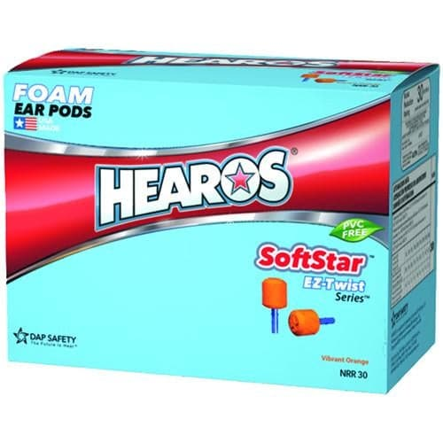 Hearos SoftStar EZ Twist No-Roll Foam Ear Plugs (NRR 30) (100 pairs - Corded)