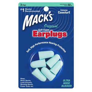 Macks Original Soft Foam Ear Plugs (NRR 29 | 3 Pairs)