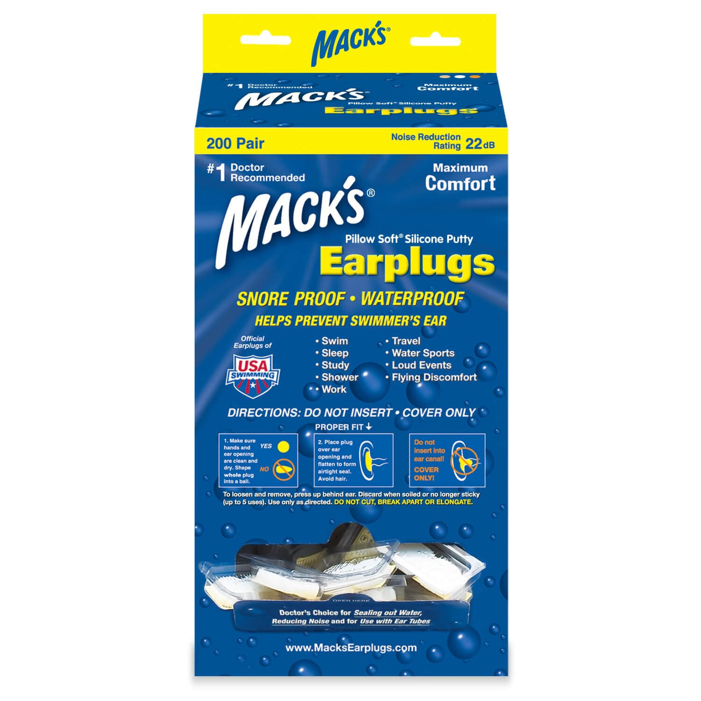 Macks Pillow Soft Silicone Moldable Ear Plugs (200 Pair Dispenser)