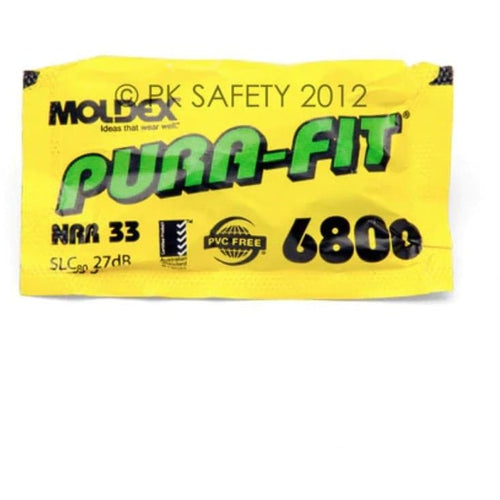 6800 Moldex Pura-Fit Disposable Foam Ear Plugs (100 Pairs Uncorded)