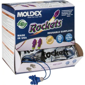 6415 Moldex® Rockets® Metal-Detectable Reusable Earplugs (50 Pairs Corded)