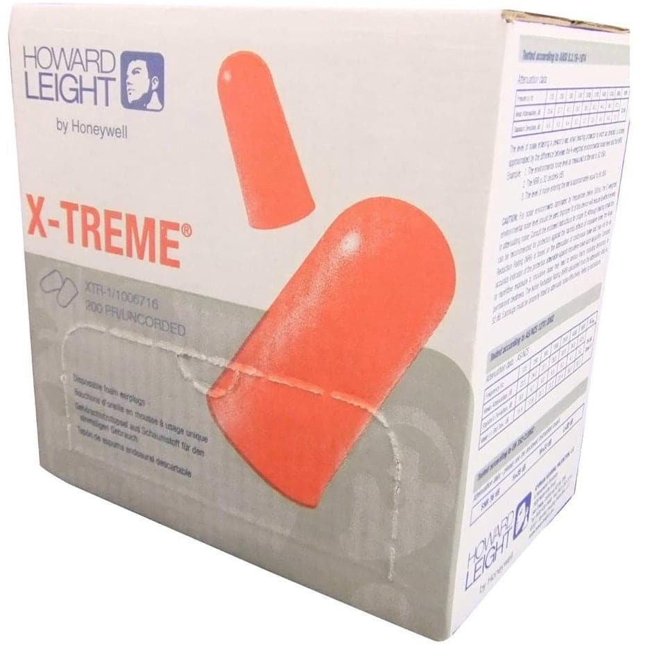 Box - Howard Leight X-Treme Ear Plugs (200 Pairs Uncorded)