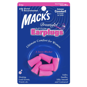 Macks Dreamgirl Soft Foam Ear Plugs (NRR 30 | 3 Pairs)